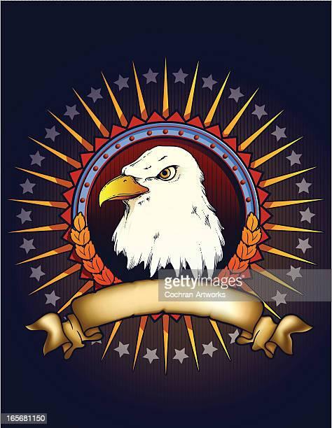 ilustrações, clipart, desenhos animados e ícones de crachá patriota com águia de cabeça - great seal
