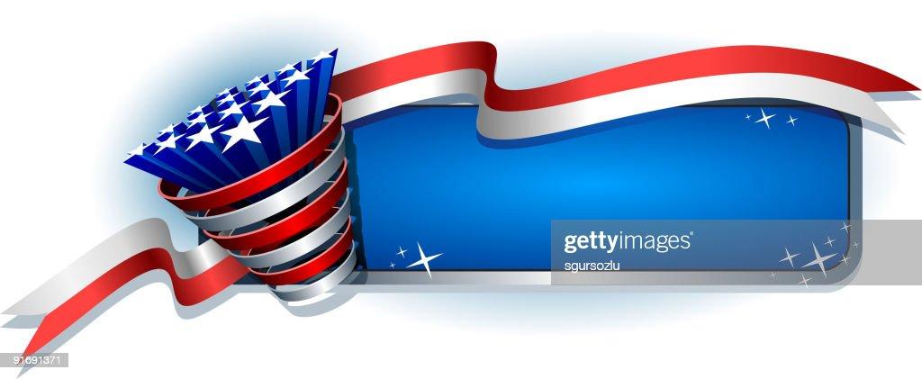 Patriotic banner design with stars bursting through a ribbon