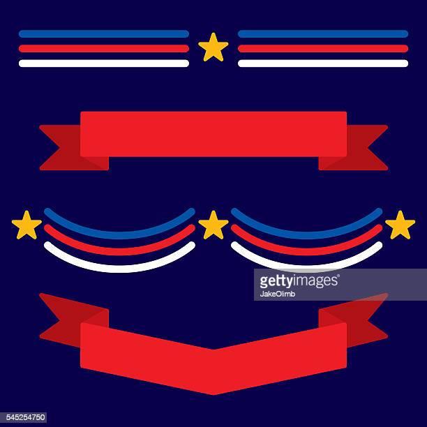 patriotic banners flat - president stock illustrations, clip art, cartoons, & icons