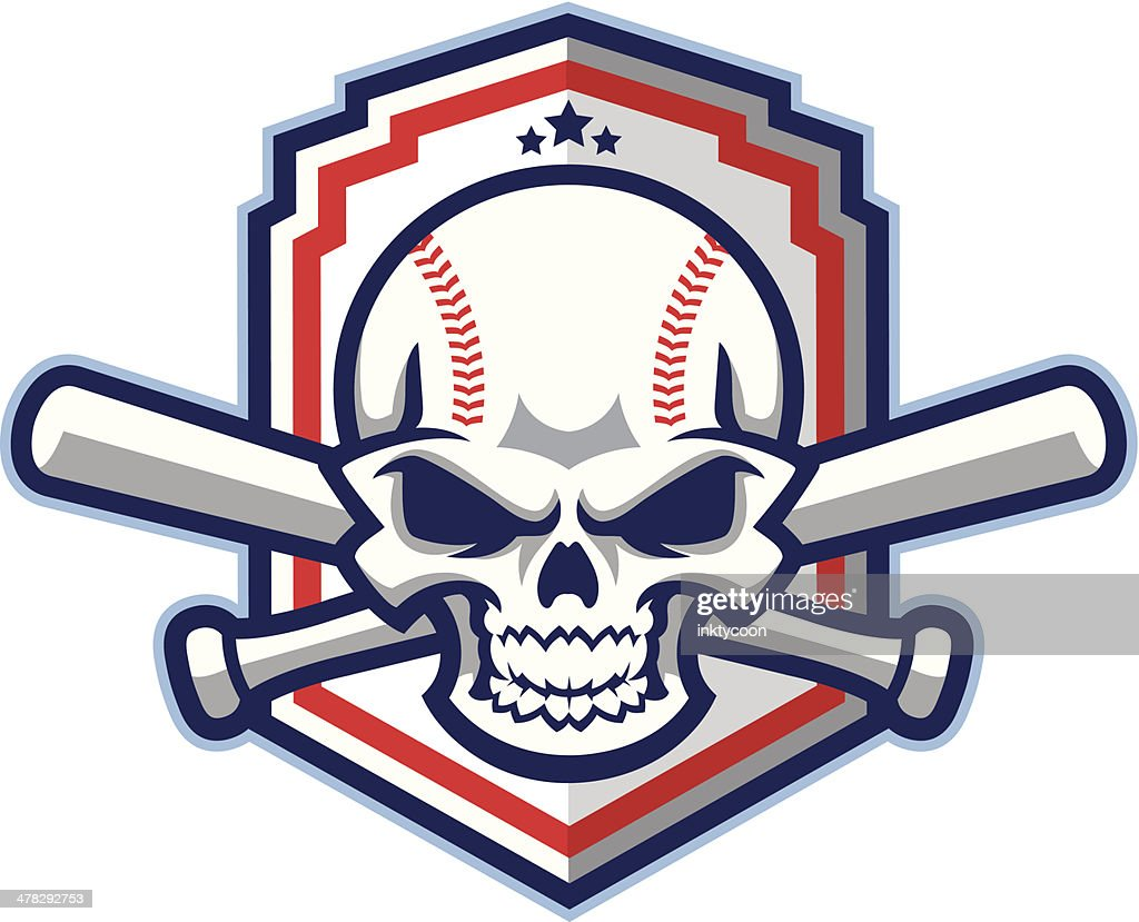 Patriotic Baseball & Softball skull with bats : stock illustration