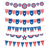 Patriotic bunting american flags garlands for USA independence day 4th