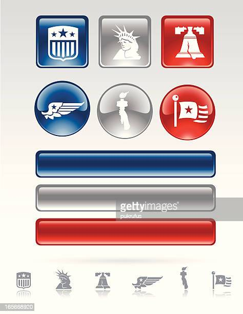 Patriotic Buttons and Bars Depicting Liberty