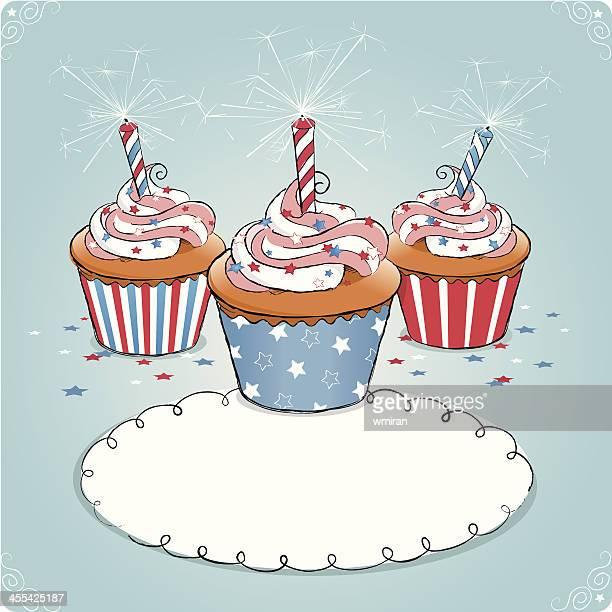 patriotic cupcakes - icing stock illustrations, clip art, cartoons, & icons