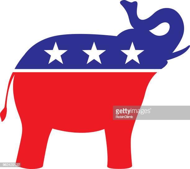 愛国心が強い象アイコン - アメリカ共和党点のイラスト素材/クリップアート素材/マンガ素材/アイコン素材