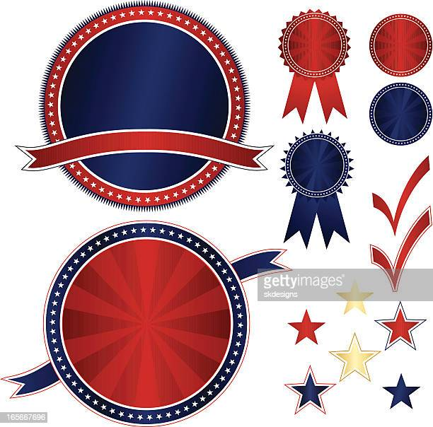 Patriotic Emblems and Stickers Set - Red, White, Blue, Gold