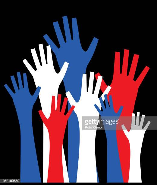 patriotic hands reaching up - political crowd stock illustrations