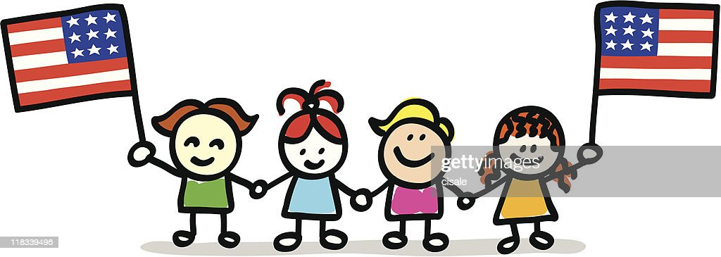 patriotic happy children kids with USA, american flag cartoon
