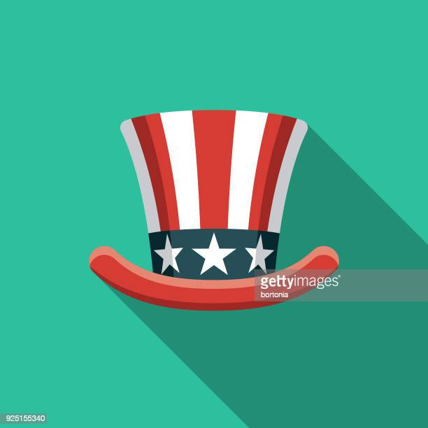 愛国的な帽子フラット デザイン アメリカ アイコン側の影 - シルクハット点のイラスト素材/クリップアート素材/マンガ素材/アイコン素材