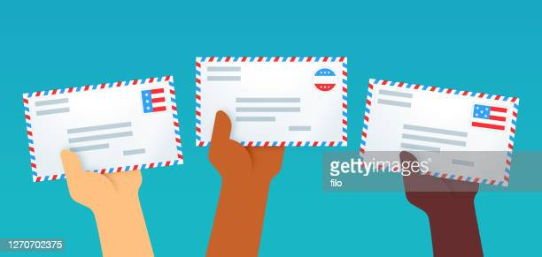 patriotic letters voting by mail - voting by mail stock illustrations