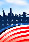 Patriotic New York skyline panoramic Collection with Statue of Liberty