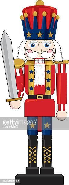 patriotic nutcracker - patriotic christmas stock illustrations