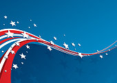 A patriotic red, white and blue background
