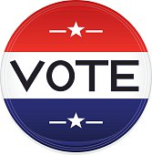 Patriotic Red, White and Blue Button, Sticker, Optional VOTE Text