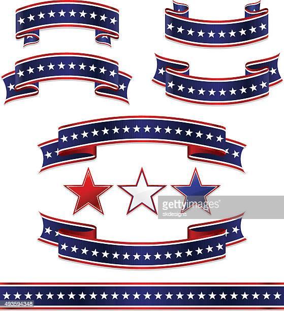 patriotische, banner, bänder und sternen-set: rot, weiß blau - senat stock-grafiken, -clipart, -cartoons und -symbole