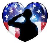 Patriotic Soldier Saluting American Flag Heart