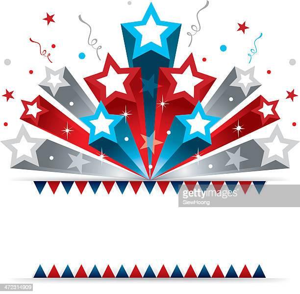patriotic star banner - carnival celebration event stock illustrations, clip art, cartoons, & icons