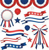 Patriotic themed red, white and blue ribbons and bunting