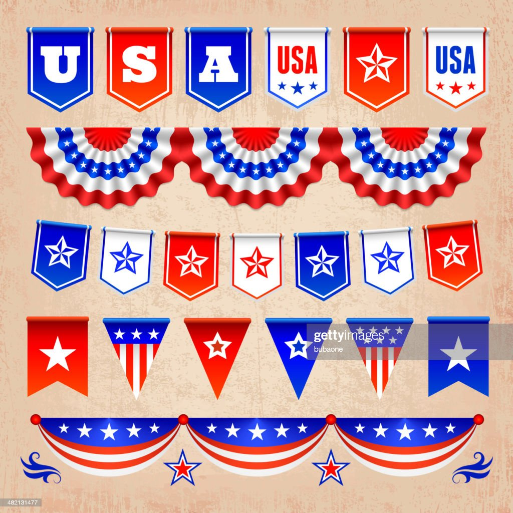 patriotic usa banners badges and decoration royaltyfree vector
