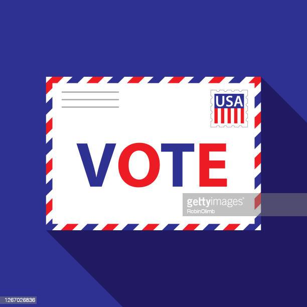 patriotic vote envelope - voting by mail stock illustrations