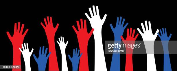 patriotic voting hands - political rally stock illustrations, clip art, cartoons, & icons