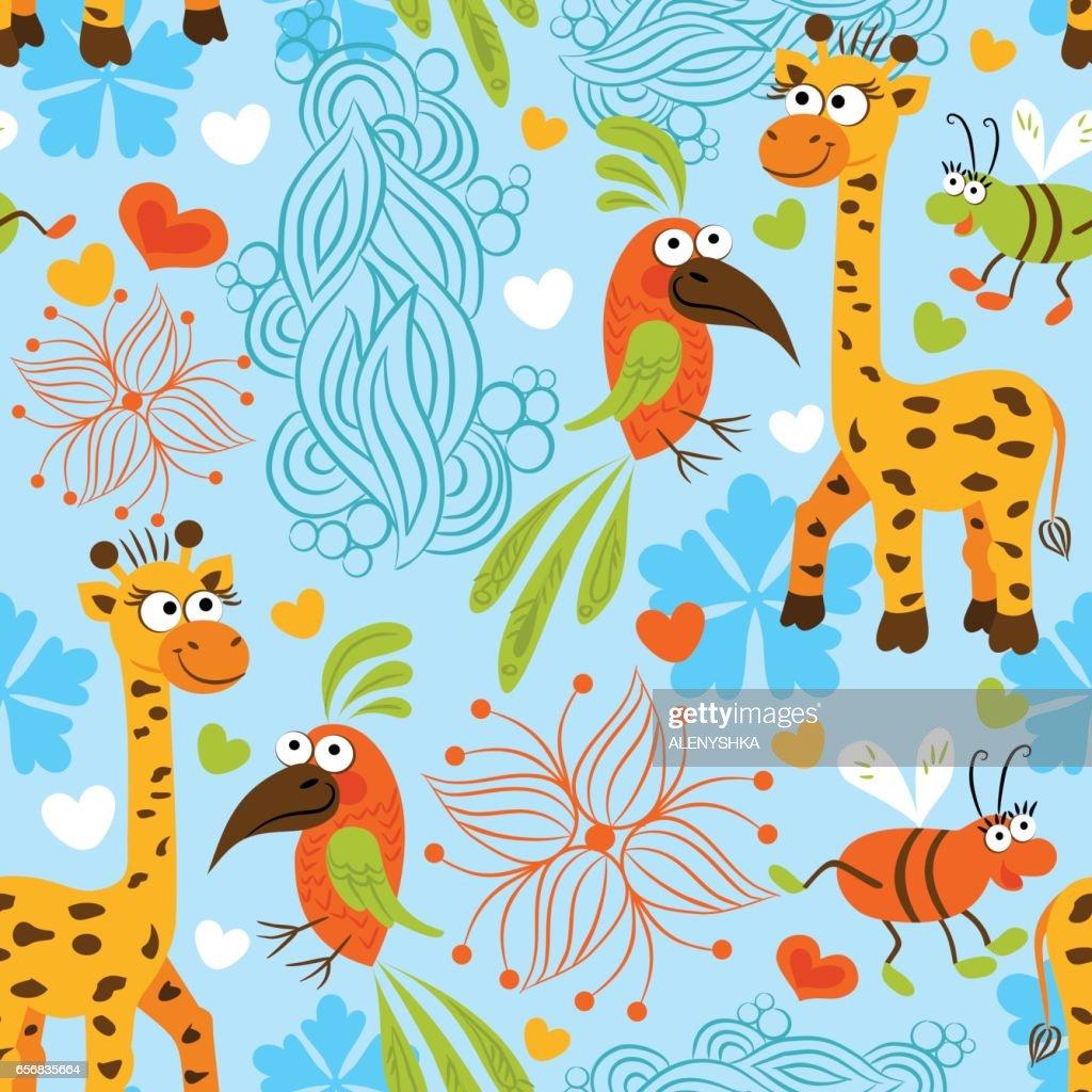 Pattern baby background giraffe parrot beetle