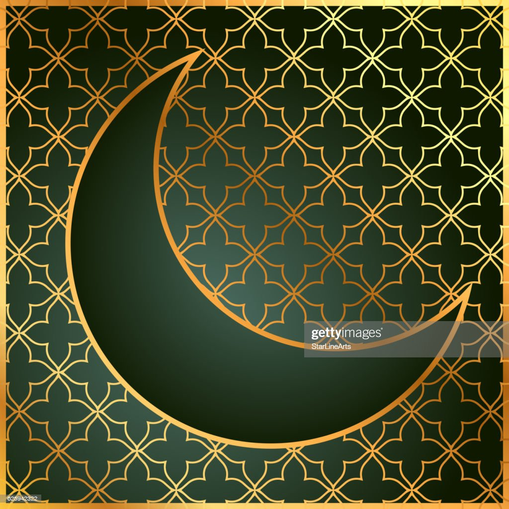 pattern background with moon in golden color