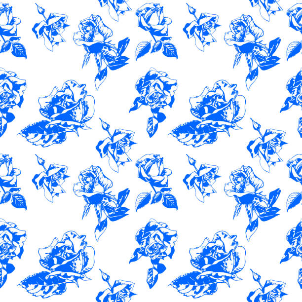 Pattern blue rose on a white background