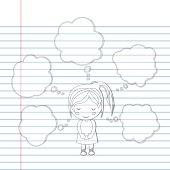 Pattern book Dream girl school cartoon vector