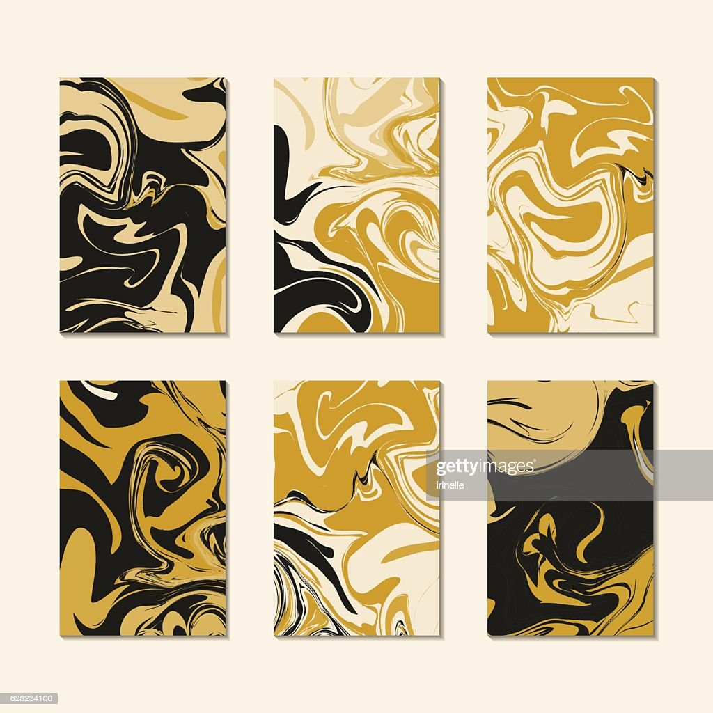 Pattern cards template vector. Gold black luxury marble texture