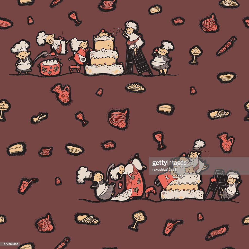 pattern chef prepares food with humor