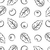 Pattern. Cherries and leaves.