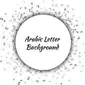 Pattern Composed from Arabic Letters Background-Vector Illustration