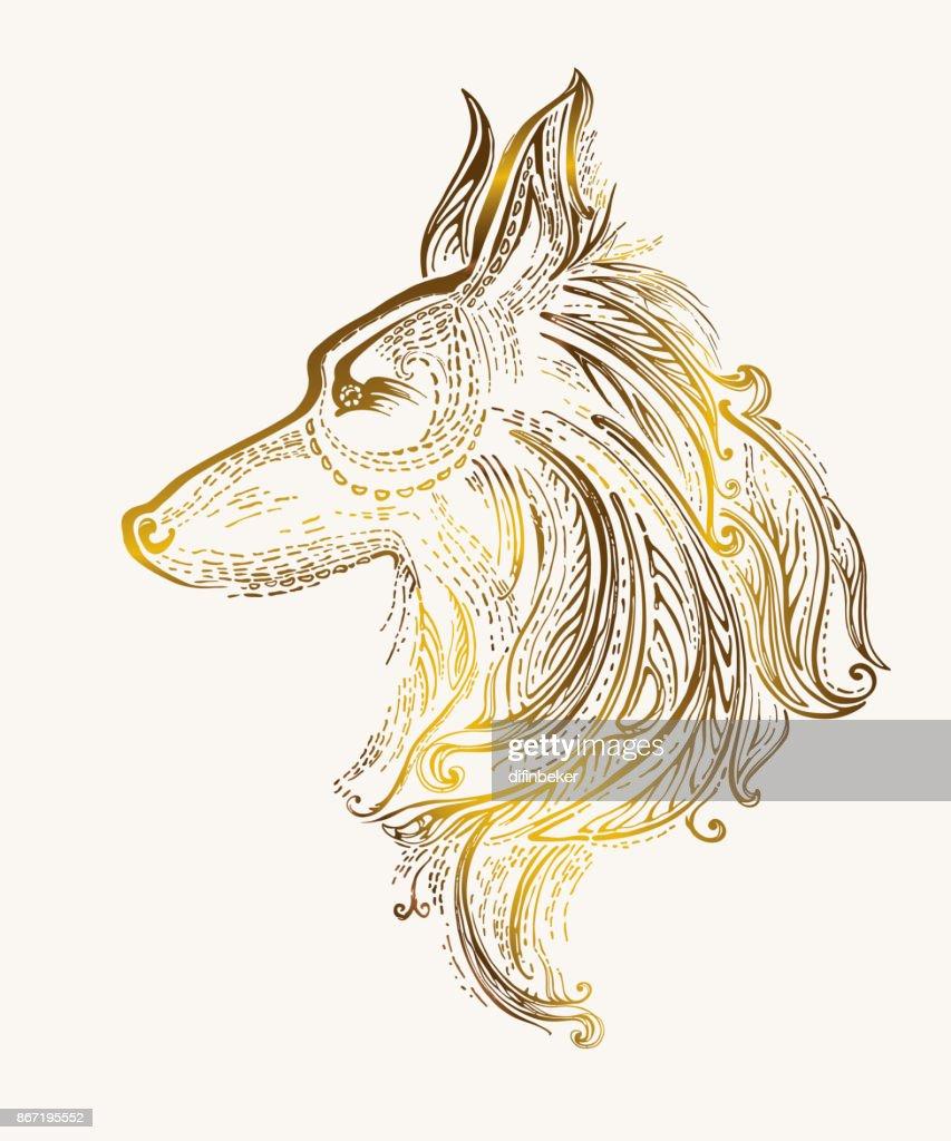 Pattern Dog golden decoration.