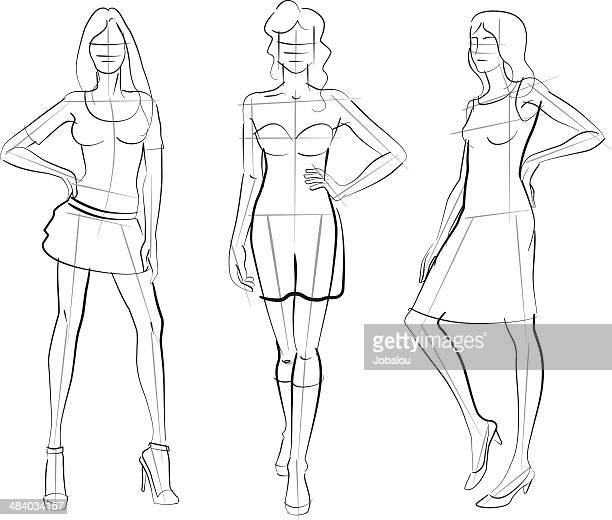 pattern fashion models - textile industry stock illustrations