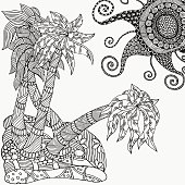 Pattern for coloring book.  Artistic palm trees and sun.