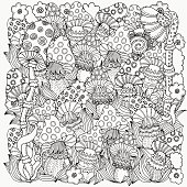 Pattern for coloring book mushrooms