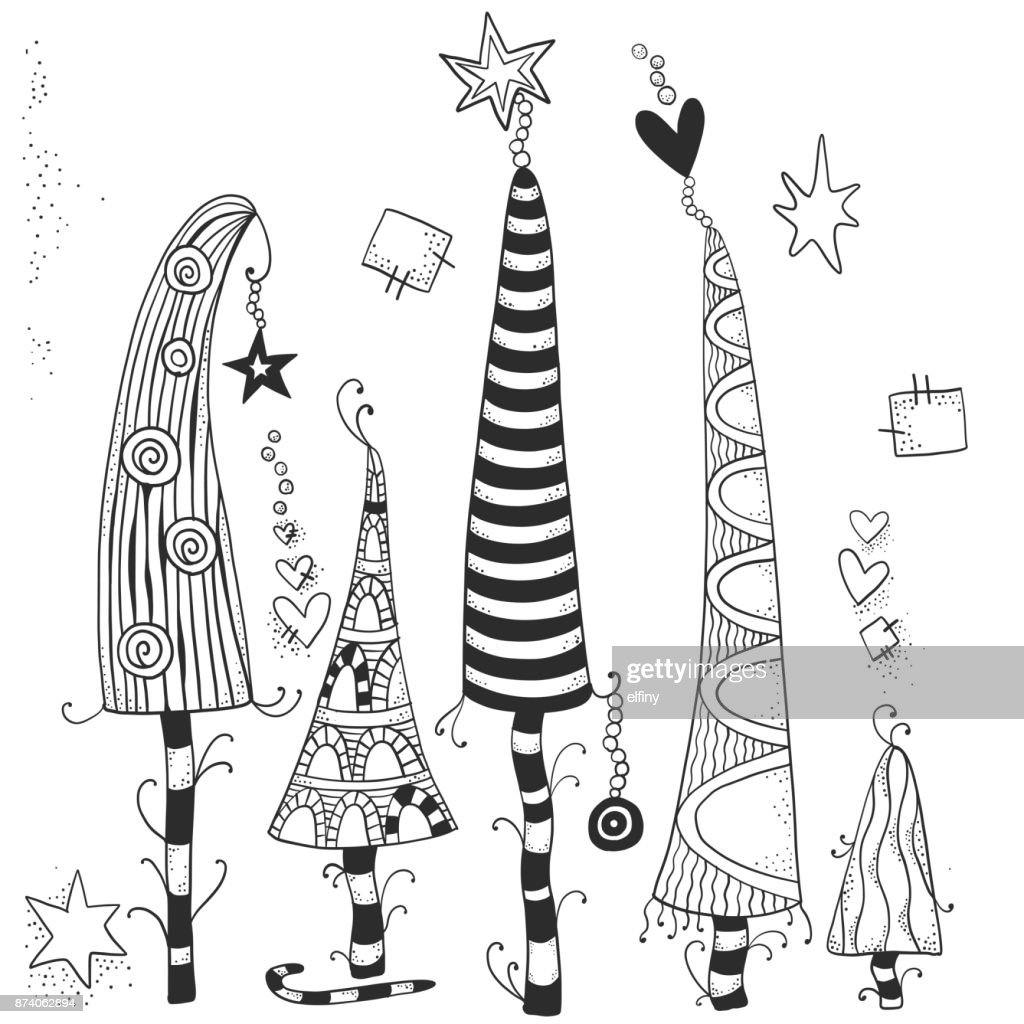 pattern for coloring book of christmas trees hand drawn decorative elements in vector fancy christmas trees black and white pattern