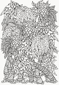 Pattern for coloring book. Set of palm trees. A4 size.