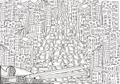 Pattern for coloring book with artistically city houses. Magic City.