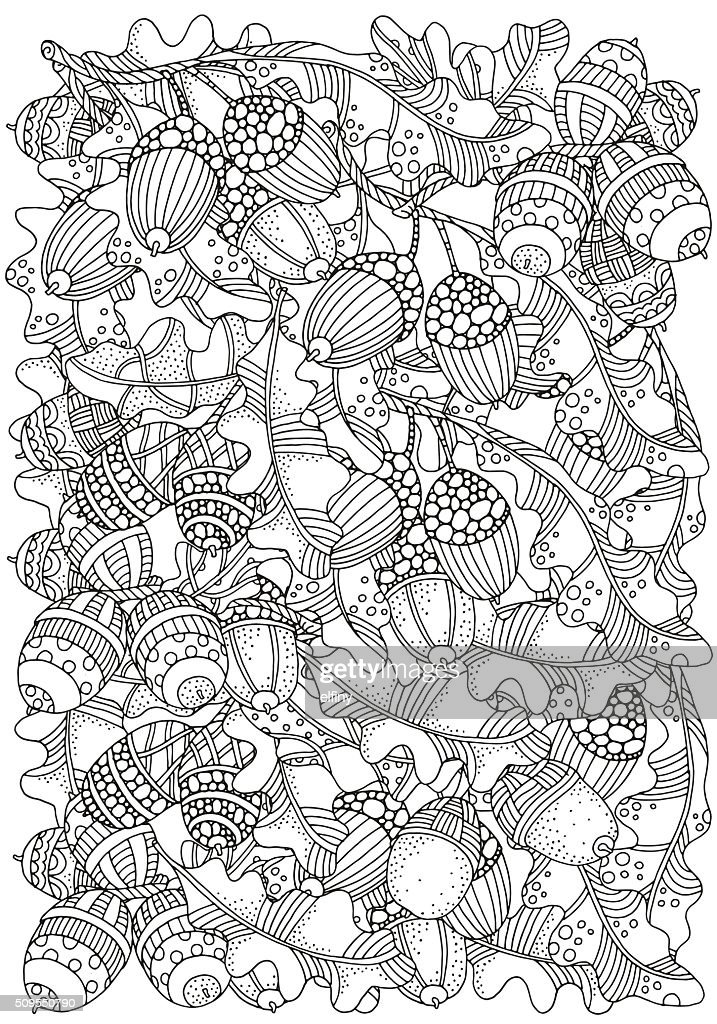 Pattern for coloring book with  artistically hand drawn oak acorns