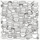 Pattern for coloring book with cups and mugs.