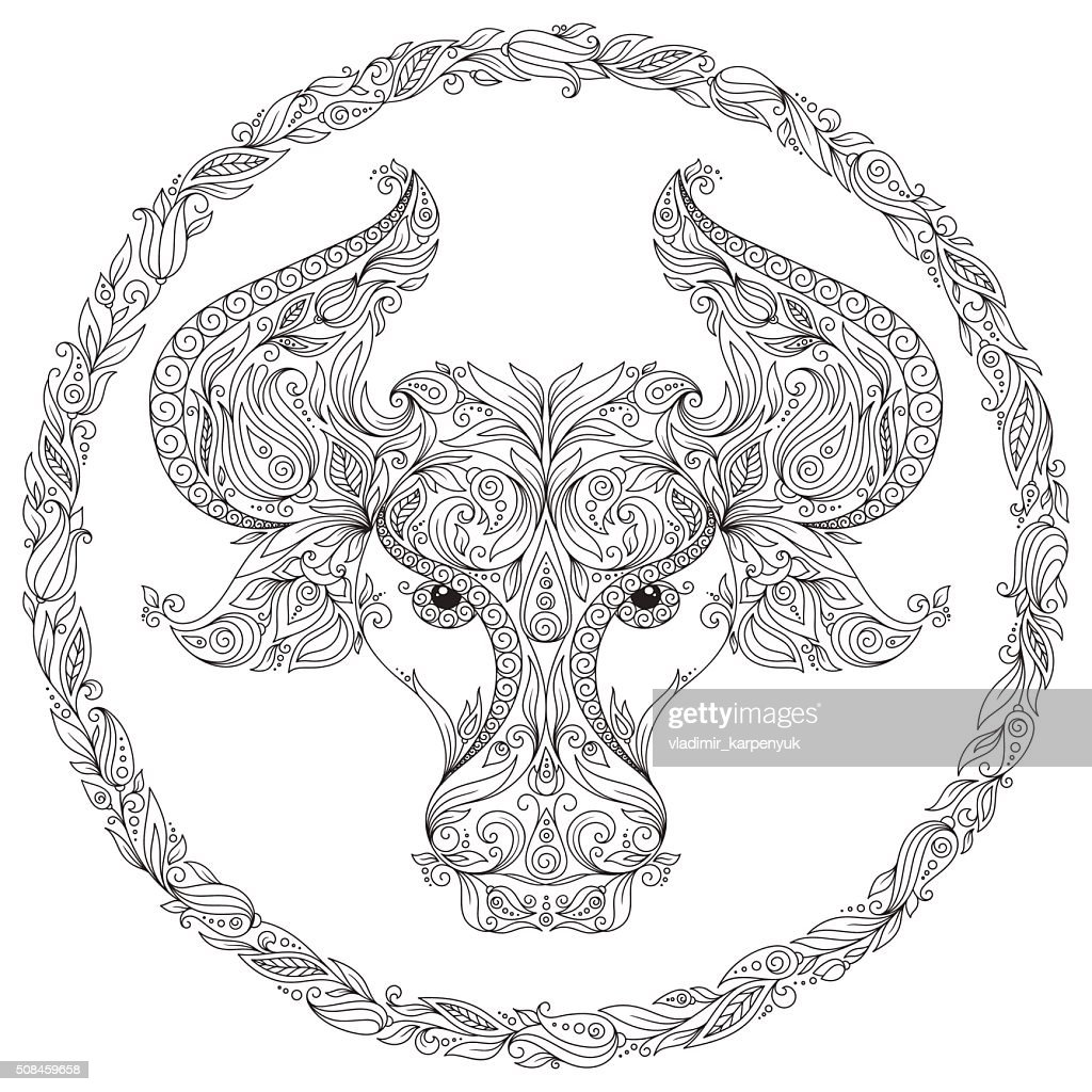 Pattern for coloring book. Zodiac Taurus.