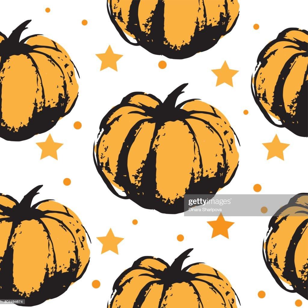 Halloween Pumpkin Vector Art.Pattern From A Big Orange Pumpkin To Halloween Orange