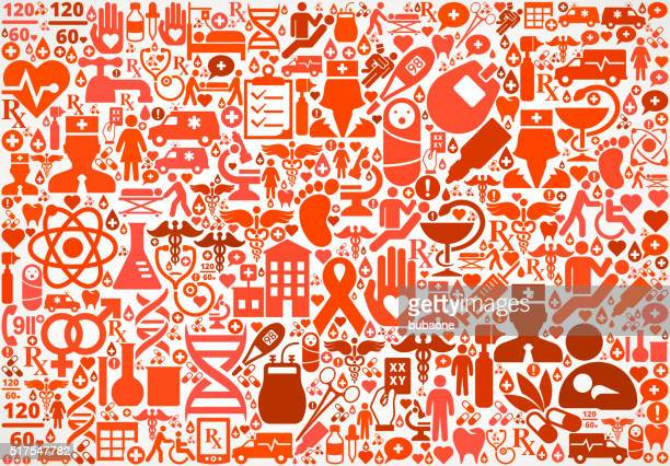 pattern healthcare and medicine seamless icon pattern - cardiac conduction system stock illustrations