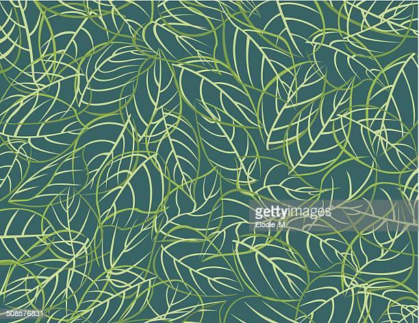 パターン leafs /feuilles - リーフ柄点のイラスト素材/クリップアート素材/マンガ素材/アイコン素材