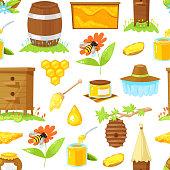pattern of cartoon elements of beekeeping