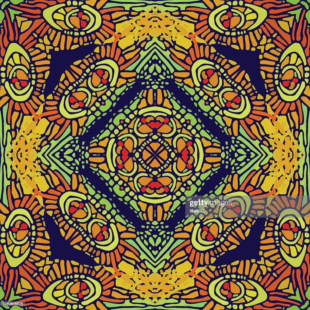 Pattern Of Colorful Abstract Mandala Shapes 9 stock