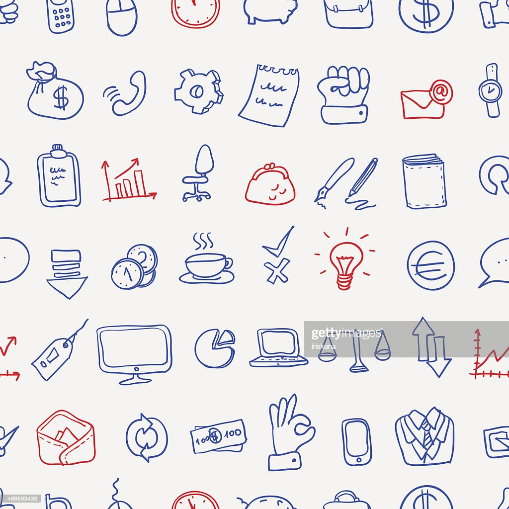 Pattern of doodle office, business icons set, vector