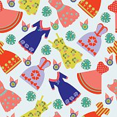 pattern of Fashion collection summer lady colorful dresses