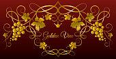 Pattern of golden vines. Grapevine decorative elements.